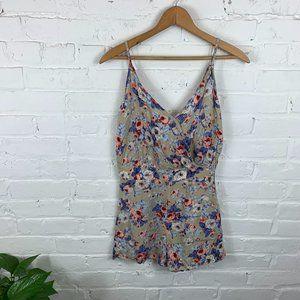 Solemio Sleeveless Floral-Print Wrap Romper Multi